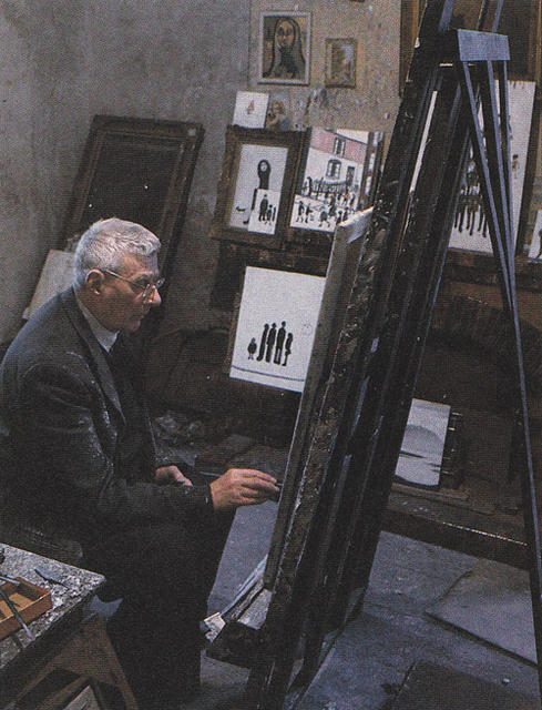 Lowry at work in his home